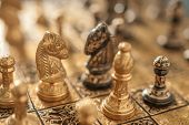 image of chessboard  - two horse on chessboard closeup - JPG
