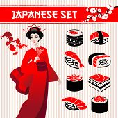 picture of geisha  - Japanese set - JPG