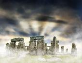 picture of stonehenge  - Fantasy sunrise at Stonehenge with dramatic sky - JPG