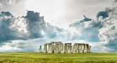 picture of stonehenge  - Stonehenge with blue sky - JPG