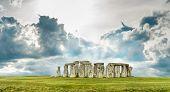 picture of stonehenge  - Stonehenge with blue sky - JPG