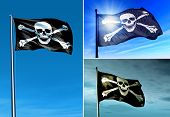 foto of skull crossbones flag  - Pirate skull and crossbones flag waving on the wind - JPG