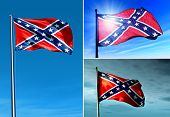 stock photo of confederate flag  - Three Confederate flags waving on the wind - JPG