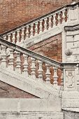 image of balustrade  - Staircase with a balustrade in old house  - JPG