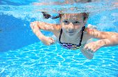 image of swimming pool family  - Happy active underwater child swims in pool - JPG