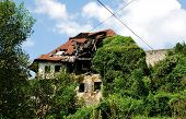 stock photo of derelict  - A historic derelict building in Jajce in the Bosanska Krajina region of central part of Bosnia and Herzegovina - JPG