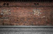 picture of dirt road  - Industrial background empty grunge urban street with warehouse brick wall - JPG