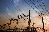 foto of substation  - Electrical substation on the sunset background - JPG