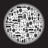 image of hearse  - black funeral icons set in circle eps10 - JPG