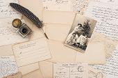 picture of nostalgic  - old letters vintage postcards and antique feather pen - JPG