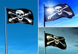 pic of skull crossbones flag  - Pirate skull and crossbones flag waving on the wind - JPG