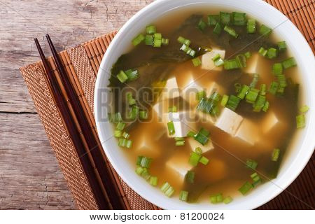 Classic Miso Soup In A White Bowl Close-up Horizontal Top View