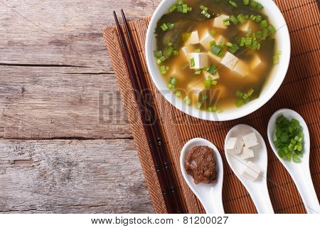 Japanese Miso Soup And Ingredients. Top View Of A Horizontal