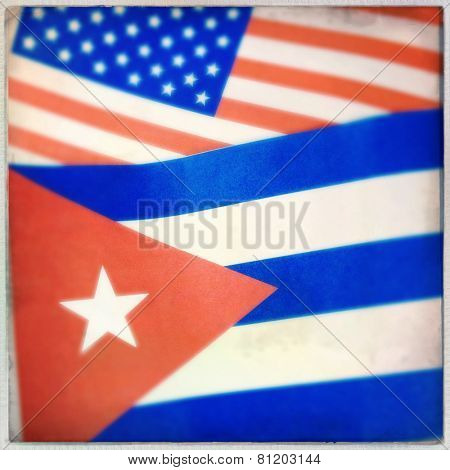 Instagram filtered image of a Cuban and American Flag