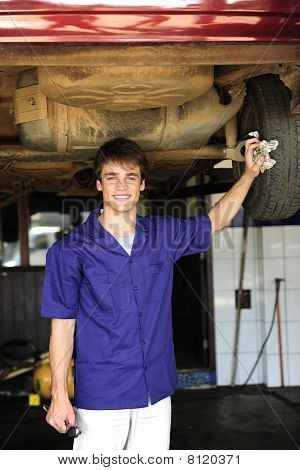 Portrait Of A Car Mechanic At Work