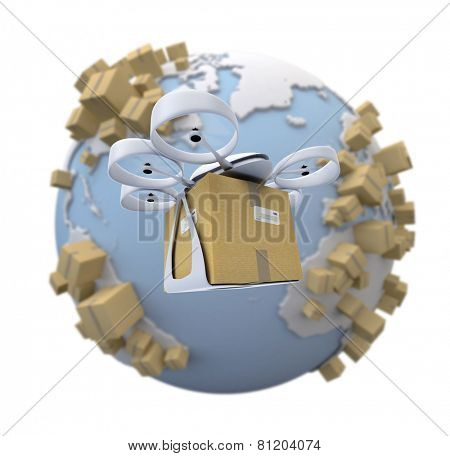 3D rendering of the Earth surrounded by boxes and a flying drone with a box attached to it