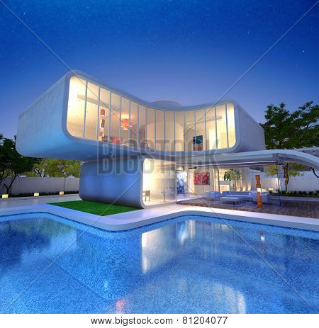 3D rendering of a Modern luxurious designers house with pool