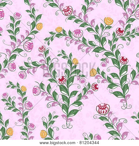Floral Seamless Pattern With Flowering Plants