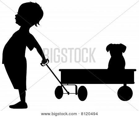Boy wagon puppy