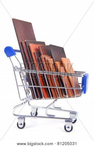 shopping trolley with wooden timber planks