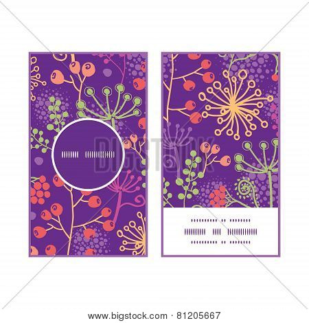 Vector colorful garden plants vertical round frame pattern business cards set