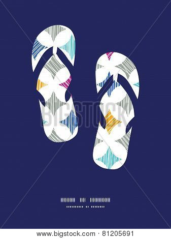 Vector colorful marble textured tiles flip flops silhouettes background