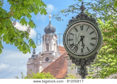 Outdoor Clock In Raithenhaslach
