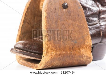 Antique Saddle Stirrup And Boot