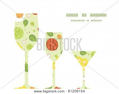 Vector fresh salad three wine glasses silhouettes pattern frame