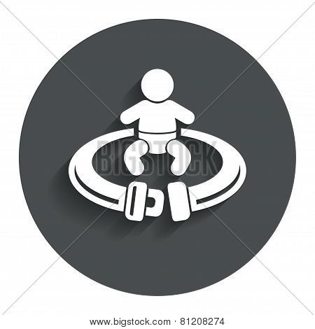 Fasten seat belt sign icon. Safety accident.