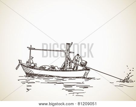 Sketch of Long tail fishing boat, Hand drawn illustration