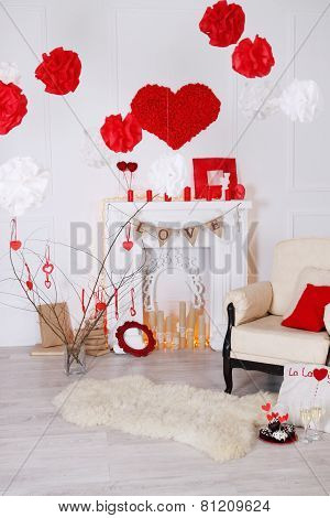 Interior With Decorated With Valentines Day