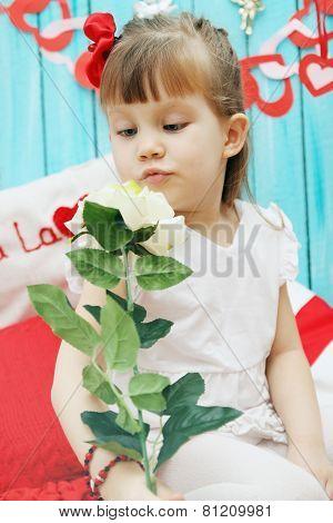Girl Holding A Rose