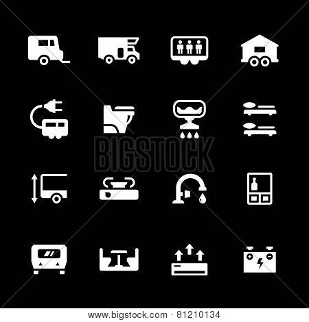 Set Icons Of Camper, Caravan, Trailer