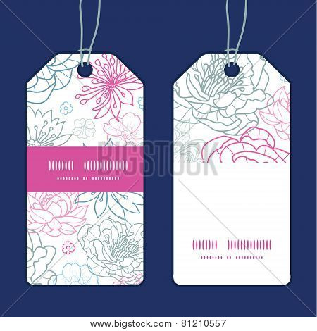 Vector gray and pink lineart florals vertical stripe frame pattern tags set