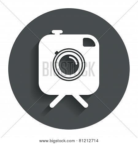 Hipster photo camera sign icon. Retro camera.