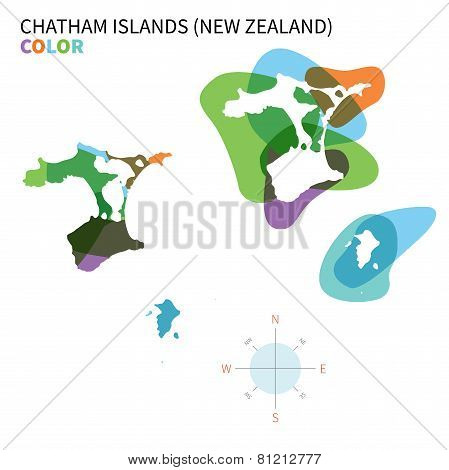 Abstract vector color map of Chatham Islands with transparent paint effect.