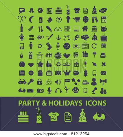 party, event, holidays, dj, celebration, family icons, signs, illustrations set, vector