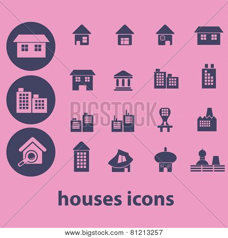 houses, buildings, city, real estate, factory, industry icons, signs, illustrations set, vector