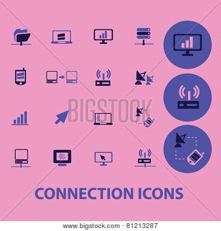 connection, communication, network icons, signs, illustrations set, vector