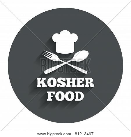 Kosher food product sign icon. Natural food.