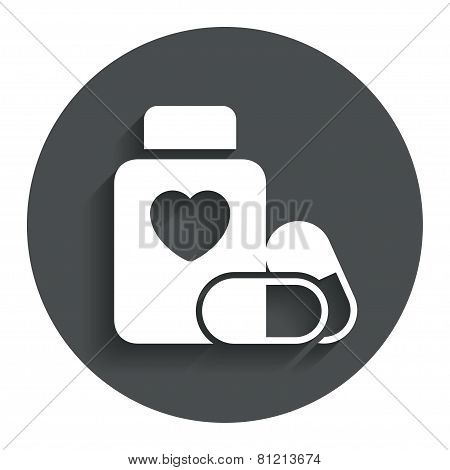 Medical heart pills bottle sign icon. Drugs.