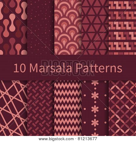 set of marsala seamless patterns