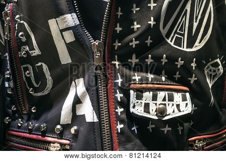 Fashionable Leather Jeacket With Silver Zip