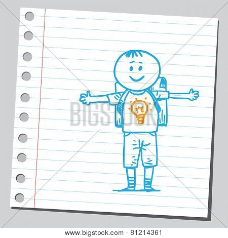 School kid with lightbulb on y-shirt