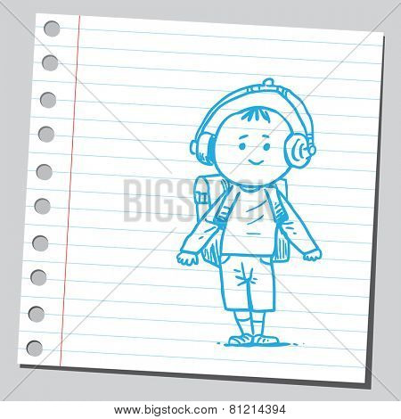 School kid with ear phones
