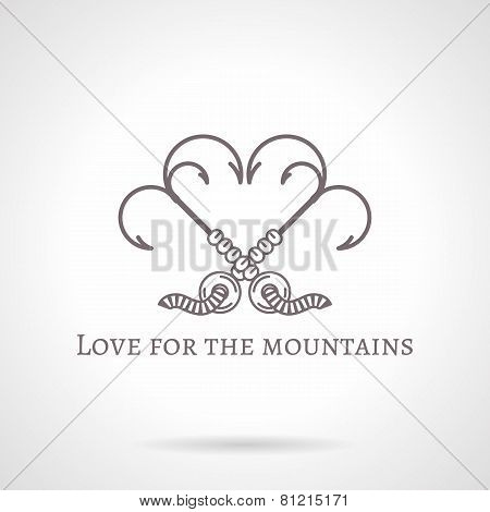 Abstract vector illustration of grappling hook icon with text