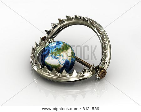 Trap With Planet Isolated On White Background