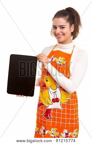 Woman With Menu Board