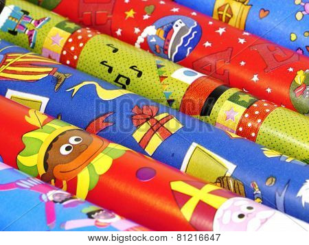 Colorful Sinterklaas wrapping paper
